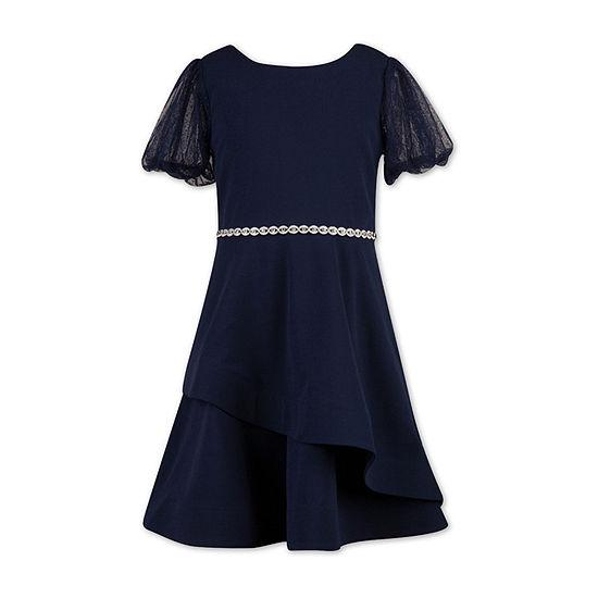 Speechless Big Girls Short Sleeve Puffed Sleeve Fit & Flare Dress