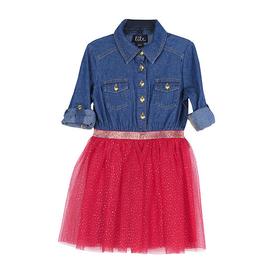 Lilt Little & Big Girls 3/4 Sleeve Roll Sleeve Shirt Dress