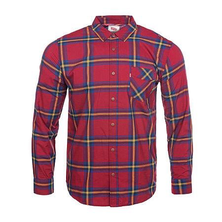 Levi's Mens Long Sleeve Plaid Button-Down Shirt, Medium , Red