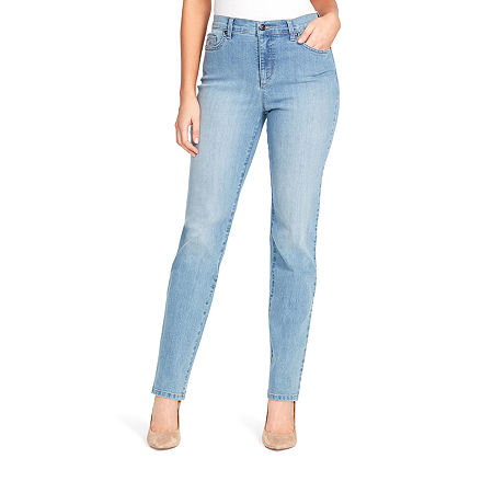Gloria Vanderbilt Amanda Womens High Rise Straight Leg Jean, 6 , Blue