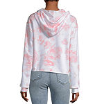 Mighty Fine-Juniors Womens Long Sleeve French Terry Tie-dye Hoodie