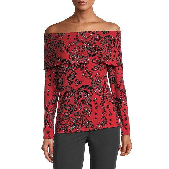 MSK Womens Straight Neck Long Sleeve Blouse