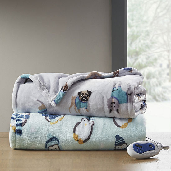 Beautyrest Oversized Plush Heated Automatic Shut Off Washable Midweight Electric Throws