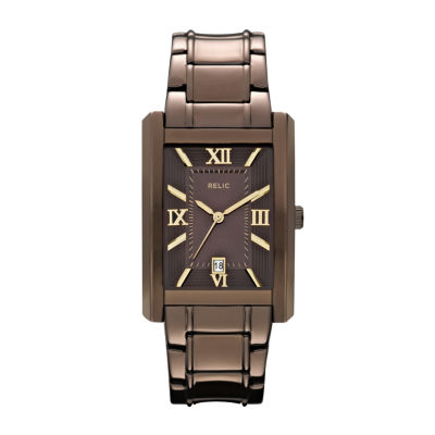 Relic® Allen Mens Rectangular Brown Dial Watch ZR77242
