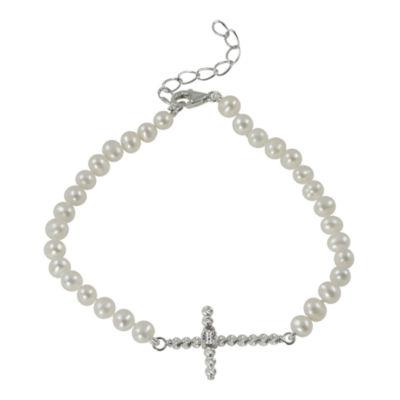 Cultured Freshwater Pearl Sparkle Bead Sideways Cross Bracelet
