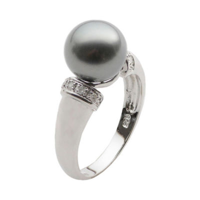 Black Tahitian Pearl & Diamond-Accent Ring