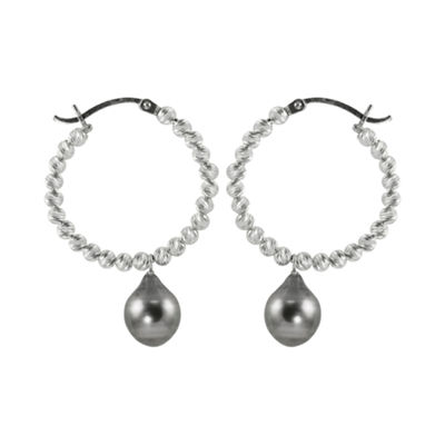 Black Tahitian Pearl & Sparkle Bead Hoop Earrings