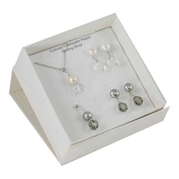 Cultured Freshwater Pearl & Crystal 4-pc. Set