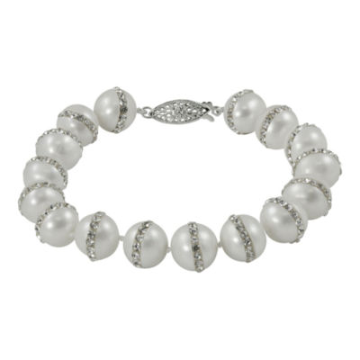 Sterling Silver Orbit Fresh Water Pearl/Crystal Bracelet