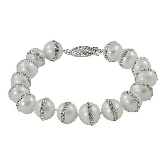 Sterling Silver Orbit Fresh Water Pearl Crystal Bracelet