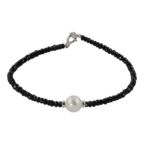 Cultured Freshwater Pearl & Genuine Onyx Bracelet