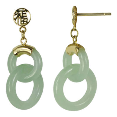 14K Yellow Gold Jade Double Circle Earrings