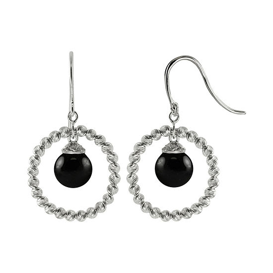 Sterling Silver Black Onyx Sparkle Bead Earrings