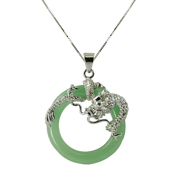 Sterling silver circle jade pendant green jade circle dragon pendant necklace mozeypictures Gallery
