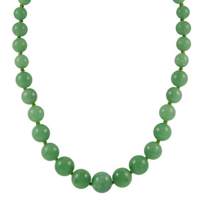 14K Gold Jade Graduated Bead Necklace