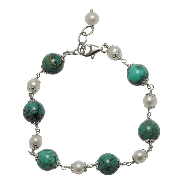 Cultured Freshwater Pearl & Turquoise Sterling Silver Bracelet