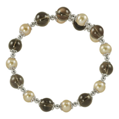 Champagne Cultured Freshwater Pearl & Smoky Quartz Bracelet