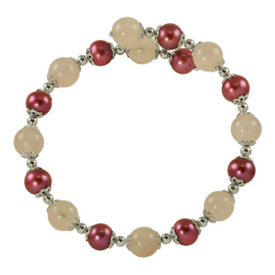 Plum Cultured Freshwater Pearl & Rose Quartz Bracelet