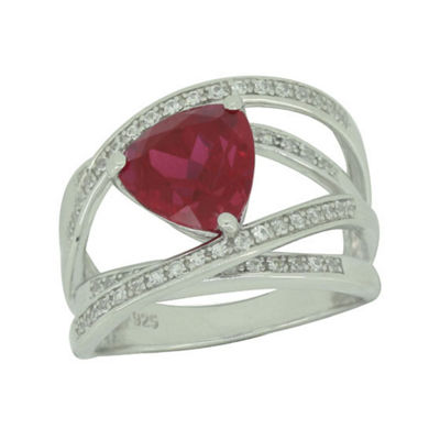 Lab-Created Ruby & White Sapphire Sterling Silver Crossover Ring