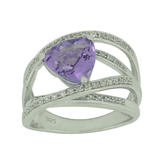 Genuine Amethyst Lab Created White Sapphire Sterling Silver Crossover Ring