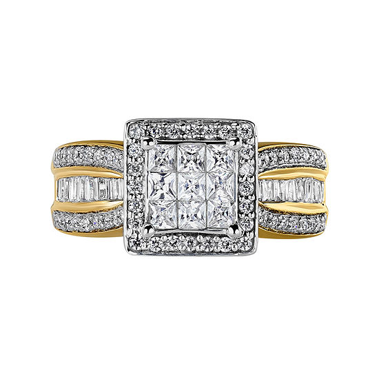 10K Yellow Gold 1 CT. T.W. Genuine Diamond Princess-Style Engagement Ring