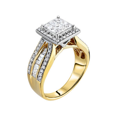 10K Yellow Gold 1 CT. T.W. Diamond Princess-Style Engagement Ring