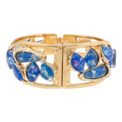 10021 | Kara Ross Blue Resin & Crystal Twisted Fragment Bangle Bracelet