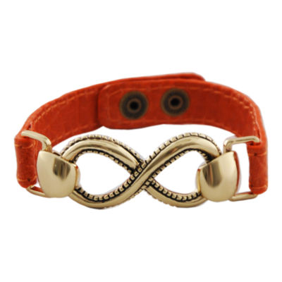 Art Smith by BARSE Infinity Orange Leather Bracelet