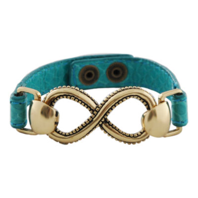Art Smith by BARSE Infinity Aqua Leather Bracelet