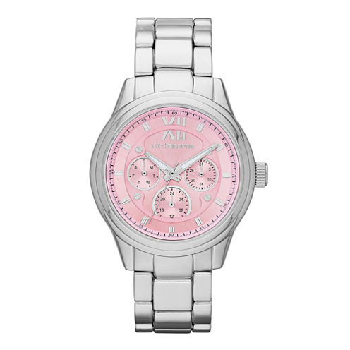 Liz Claiborne® Womens Silver-Tone Pink Watch