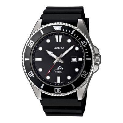 Casio® Mens Black Resin Strap Watch MDV106-1A