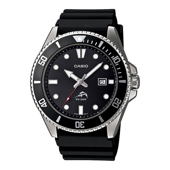 Casio Mens Black Strap Watch-Mdv106-1a