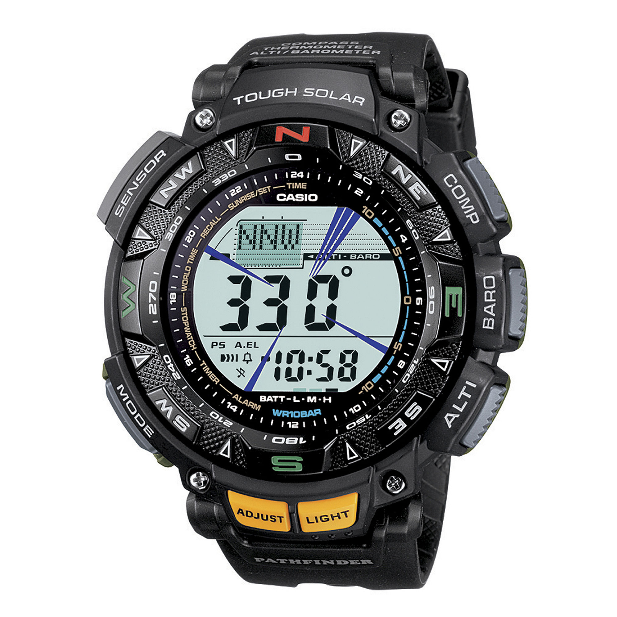 Casio Pathfinder Tough Solar Triple Sensor Mens Black Resin Watch PAG240-1CR