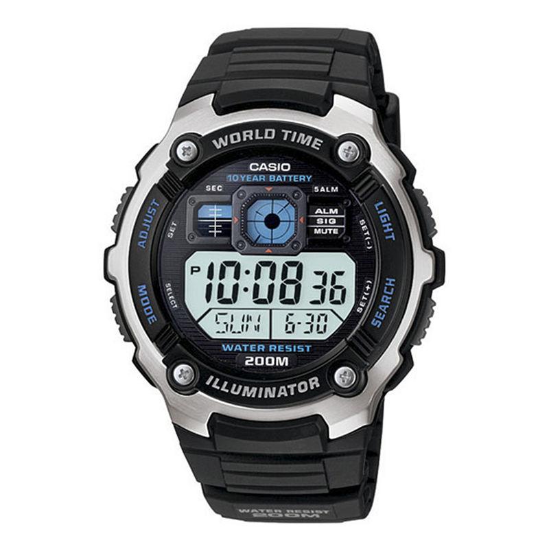 Casio Mens Black Resin Strap Solar Sport Watch AE2000W-1AV