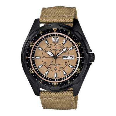 Casio® Mens Brown Nylon Strap Watch AMW110-9AVCR