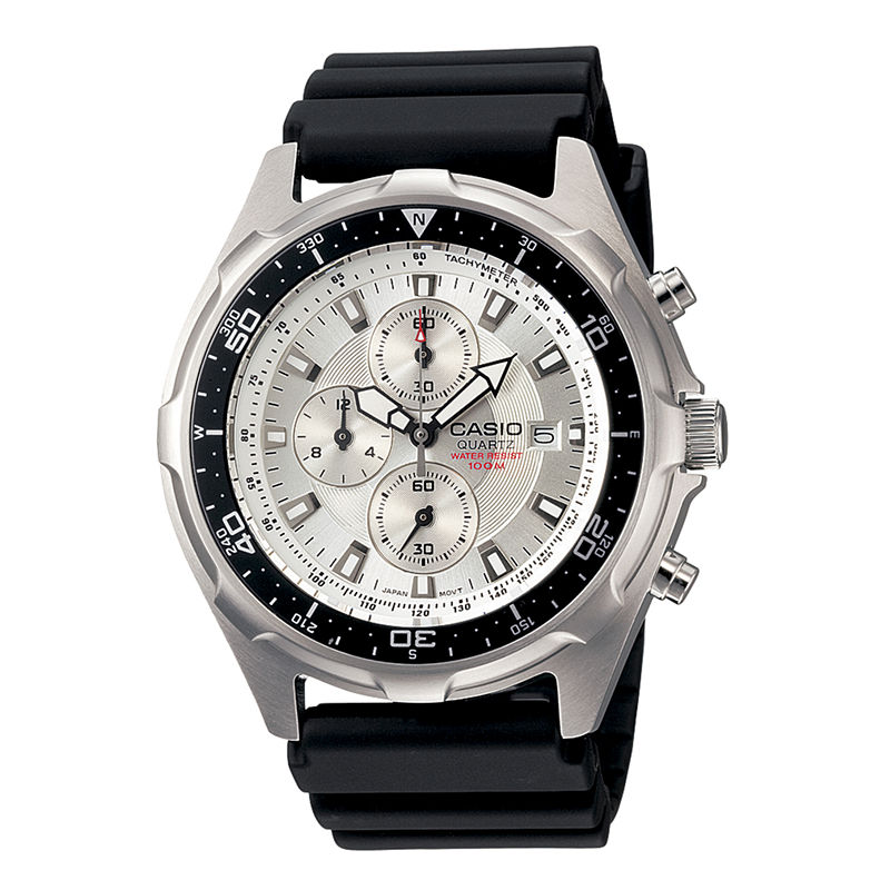 Casio Mens Black Resin Strap Chronograph Watch AMW330-7AV