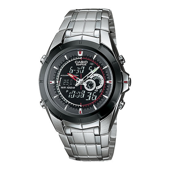 Casio Mens Multi-Function Silver Tone Stainless Steel Bracelet Watch-Efa119bk-1av