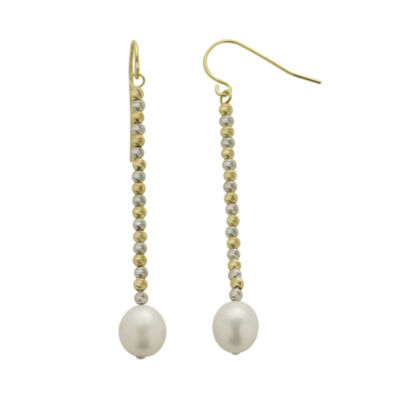 Cultured Freshwater Rice Pearl & 2-Tone Brilliance Bead Drop Earrings