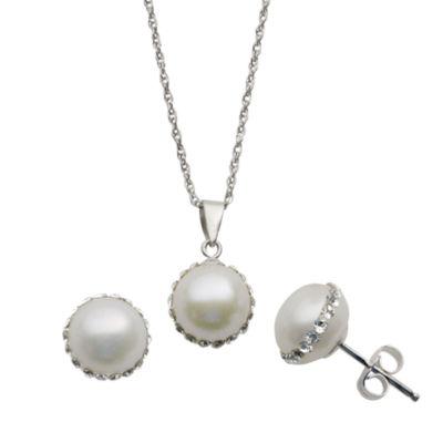Cultured Freshwater Pearl Pendant & Earrings Boxed Set