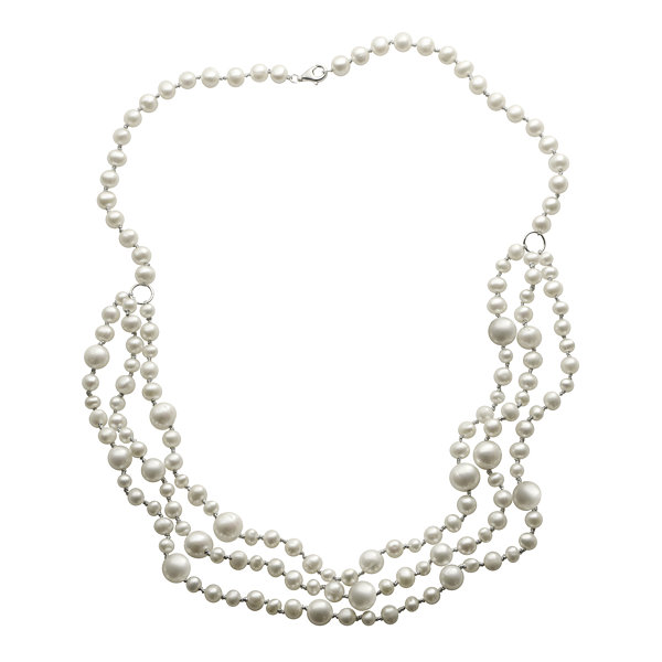 Cultured Freshwater Pearl Multi-Row Sterling Silver Necklace
