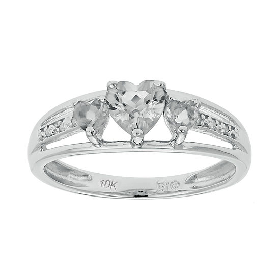 Genuine White Topaz & Diamond-Accent Heart-Shaped 3-Stone 10K White Gold Ring