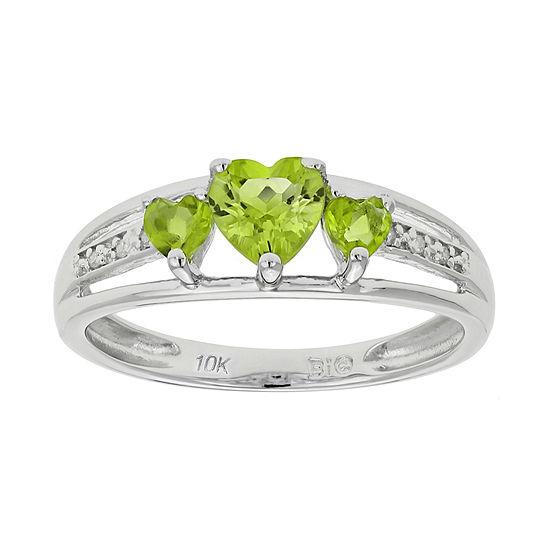 Genuine Peridot & Diamond-Accent Heart-Shaped 3-Stone 10K White Gold Ring