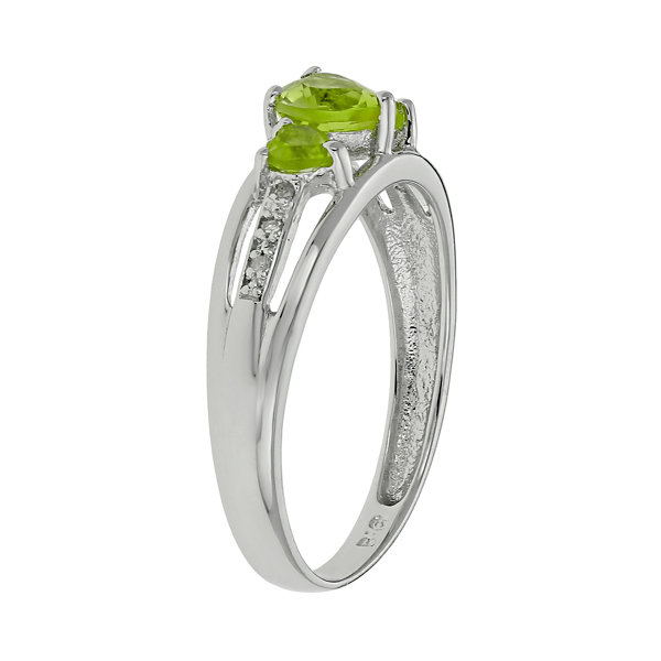 Genuine Peridot & Diamond-Accent Heart-Shaped 3-Stone 10K White Gold Ring