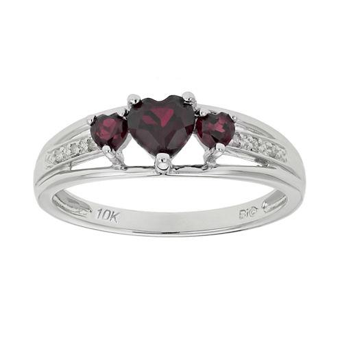 Genuine Garnet & Diamond-Accent Heart-Shaped 3-Stone 10K White Gold Ring