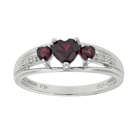 Genuine Garnet & Diamond-Accent Heart-Shaped 3-Stone 10K White Gold Ring
