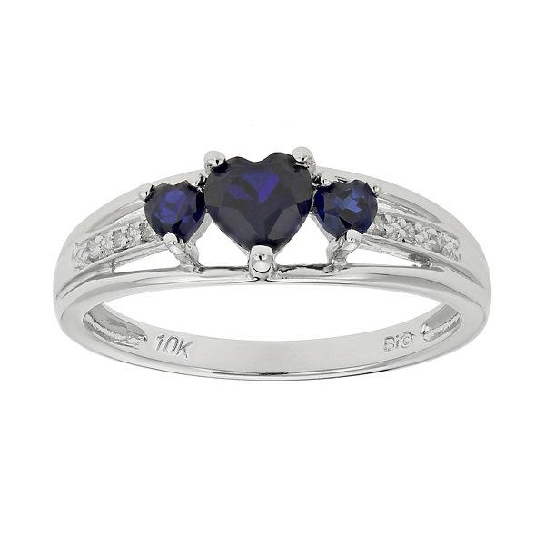 10K White Gold Blue Sapphire 3 Stone Heart Shape Ring