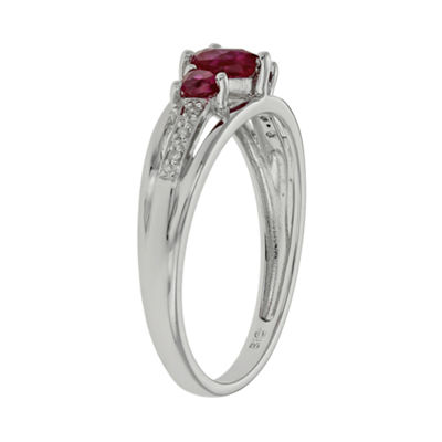 Lab-Created Ruby & Diamond-Accent Heart-Shaped 3-Stone 10K White Gold Ring