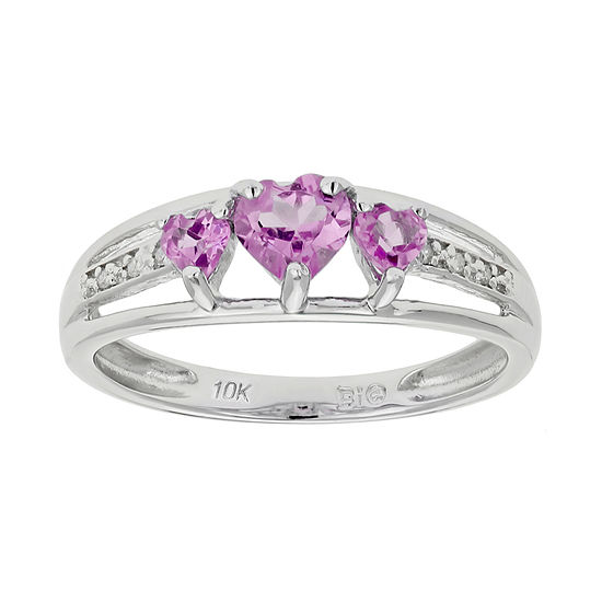 Lab Created Pink Sapphire Heart Shaped 3 Stone 10k White Gold Ring