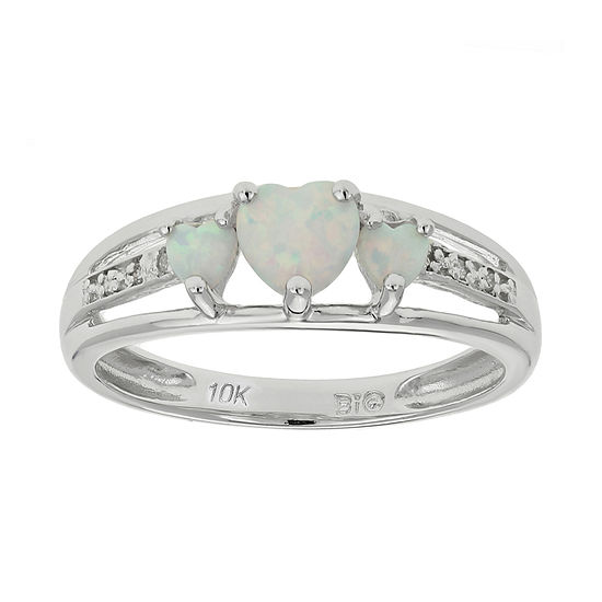 Lab Created Opal Diamond Accent Heart Shaped 3 Stone 10k White Gold Ring
