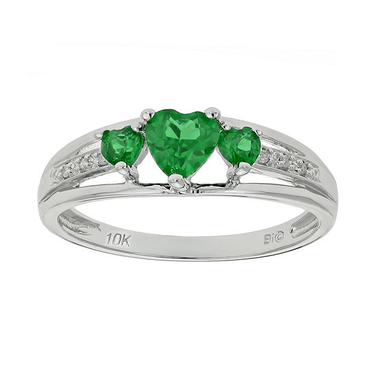d09f1fd912f96 Lab-Created Emerald & Diamond-Accent Heart-Shaped 3-Stone 10K White Gold  Ring